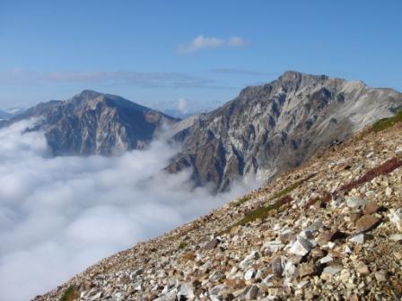小蓮華山頂付近から白馬三山